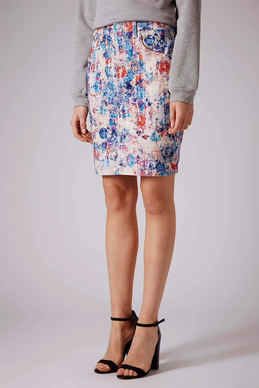 topshop print skirt