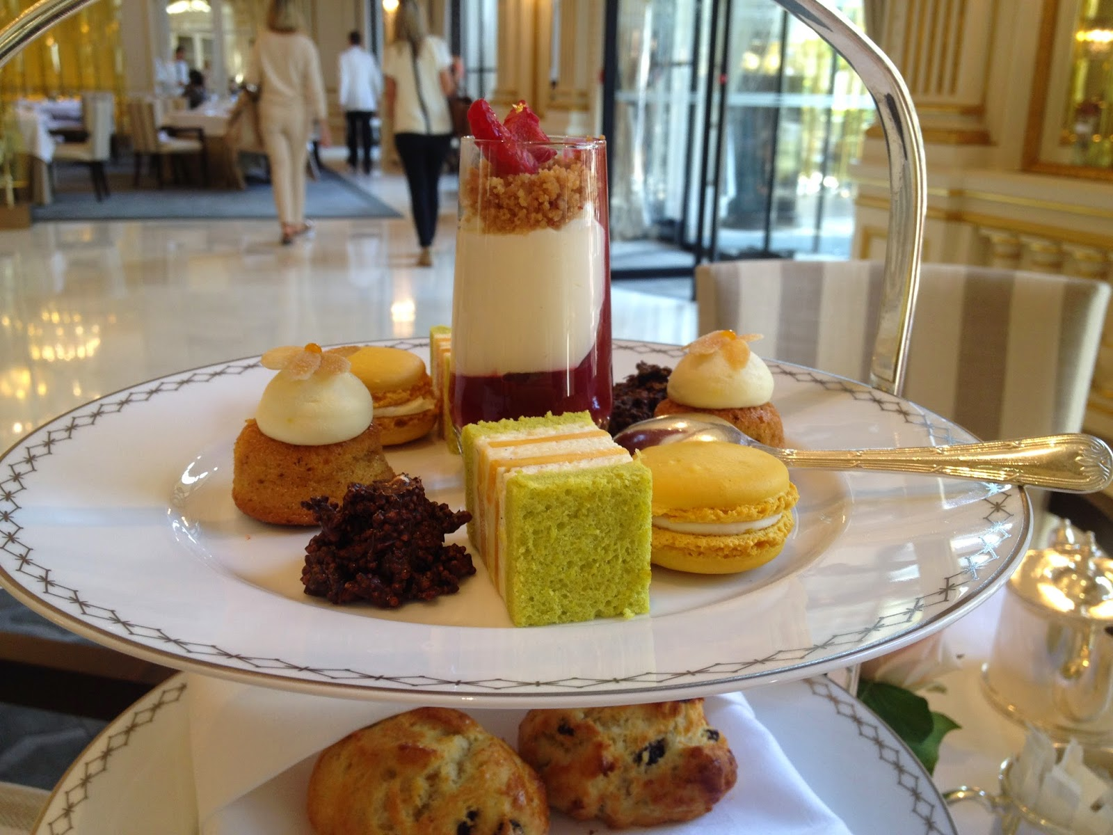 Traditional Afternoon Tea desserts at The Lobby, Peninsula Paris