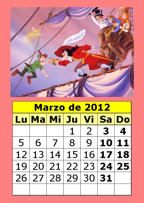CALENDARIO INFANTIL DISNEY 2012 COLOR