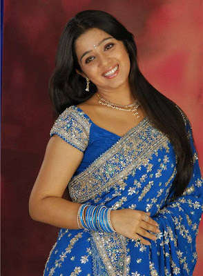 Tollywood Actress Charmi Blue Saree Photos