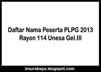 Daftar Nama Peserta PLPG 2013 Rayon 114 Unesa Gelombang 3