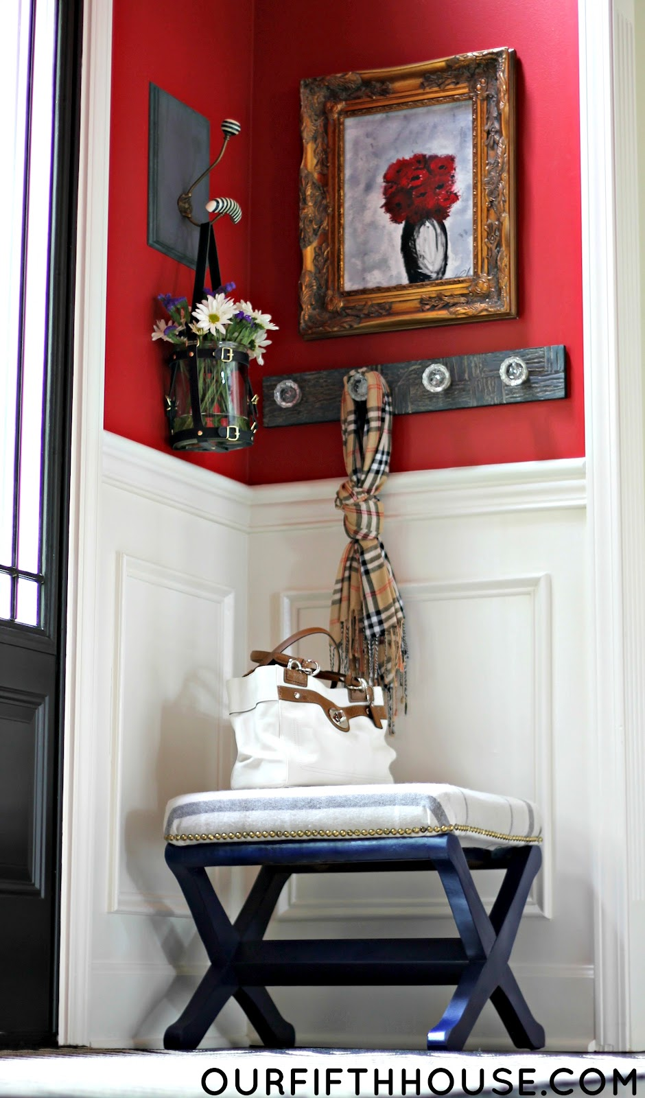 Small Foyer Chair : Our fifth house turning a small ottoman into mini bench