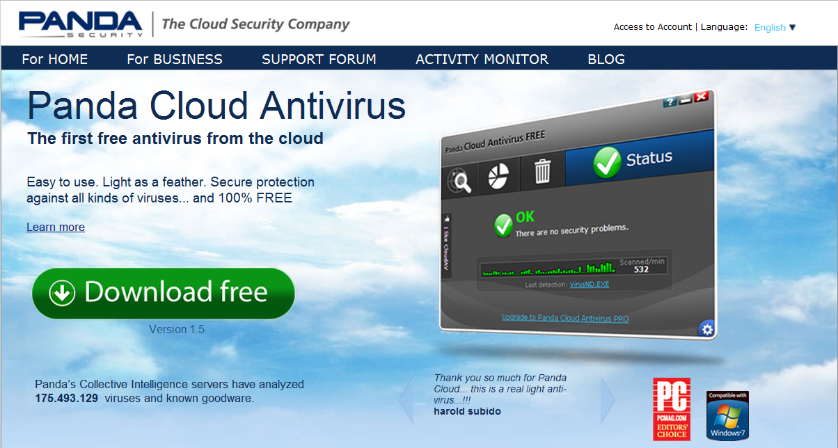 The main interface is easy panda cloud antivirus 112 navigate and the user is guided a msdos 622 torrent