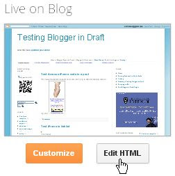 Blogger Dashboard Settings Template Edit HTML template editor