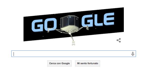 Il Doodle di Google dedicato a Rosetta e Philae