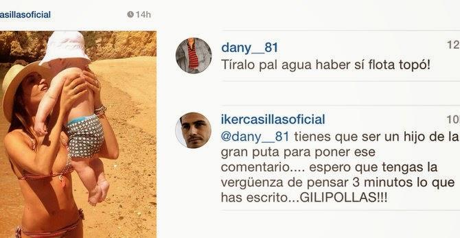 Iker Casillas llama gilipollas al autor de un comentario sobre su hijo