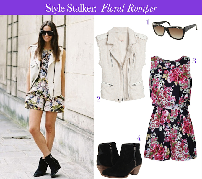 floral romper street style