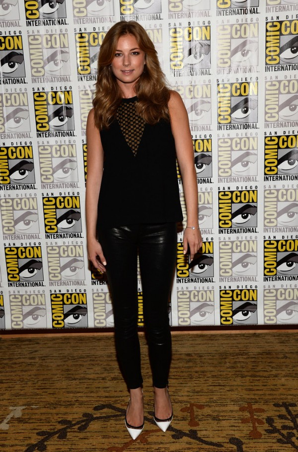 Emily Vancamp, J Brand black leather legging pants