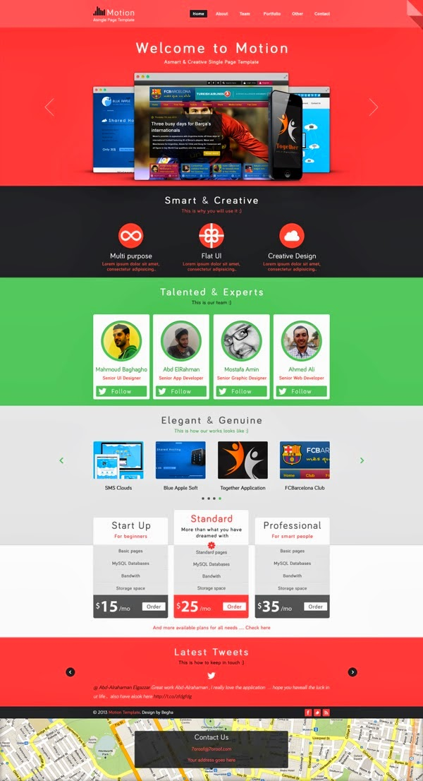 single page PSD web template