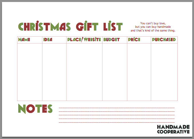 Captivating Handmade Cooperative Intended For Christmas List Maker Free