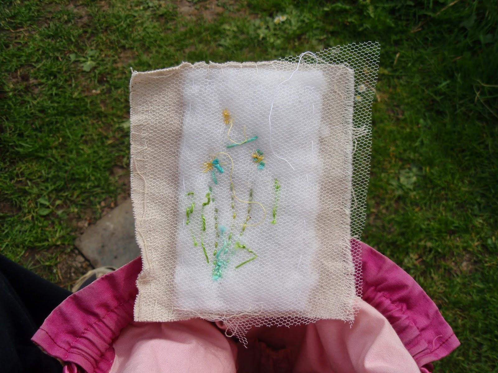 Layers of main fabric, wadding and backing fabric