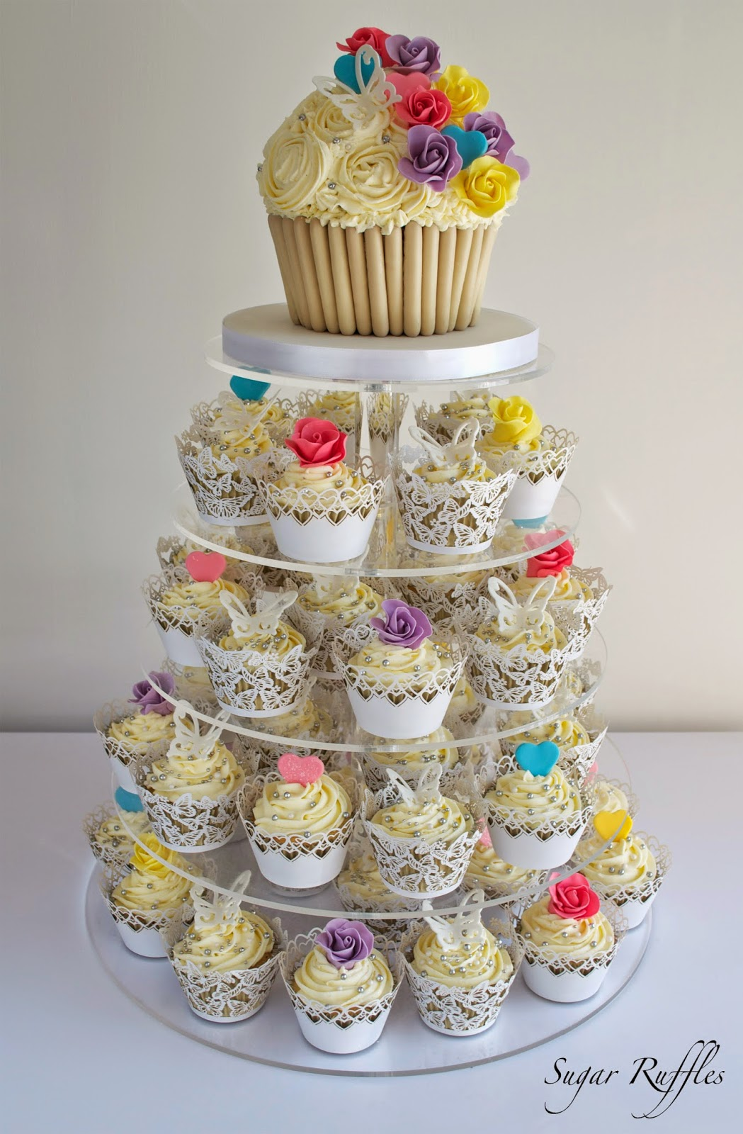 Bright and Colourful Wedding Cupcake Tower