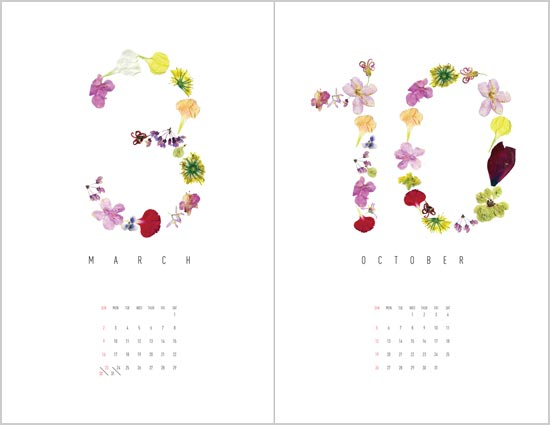 Calendar Floral : Petals and pods flower calendars