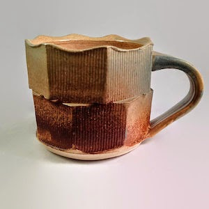 Ceramic mug, double facets by Future Relics Pottery