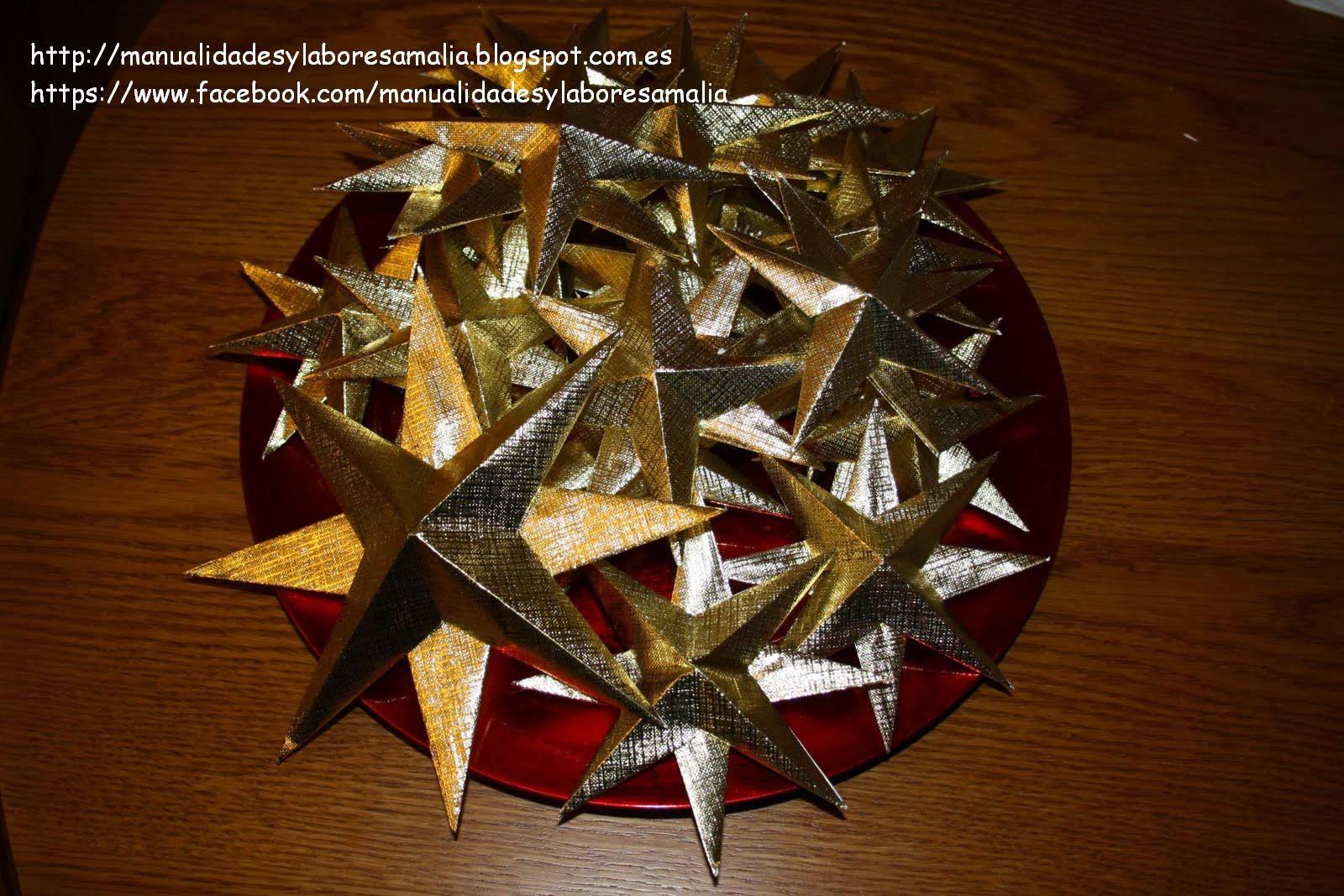 Manualidades y labores amalia estrellas de navidad de - Manualidades de estrellas de navidad ...