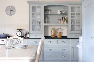 Farrow and Ball Light Blue painted kitchen