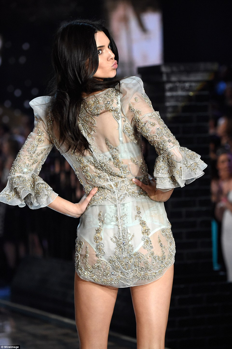 Kendall's pale blue lingerie number featured embellished details