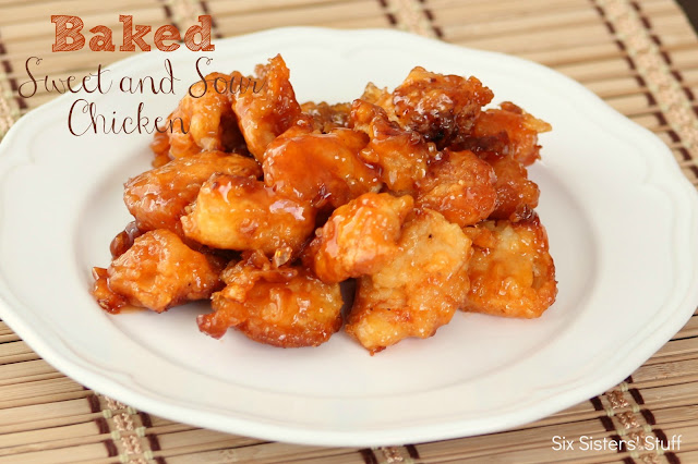 Baked Sweet and Sour Chicken on a white plate