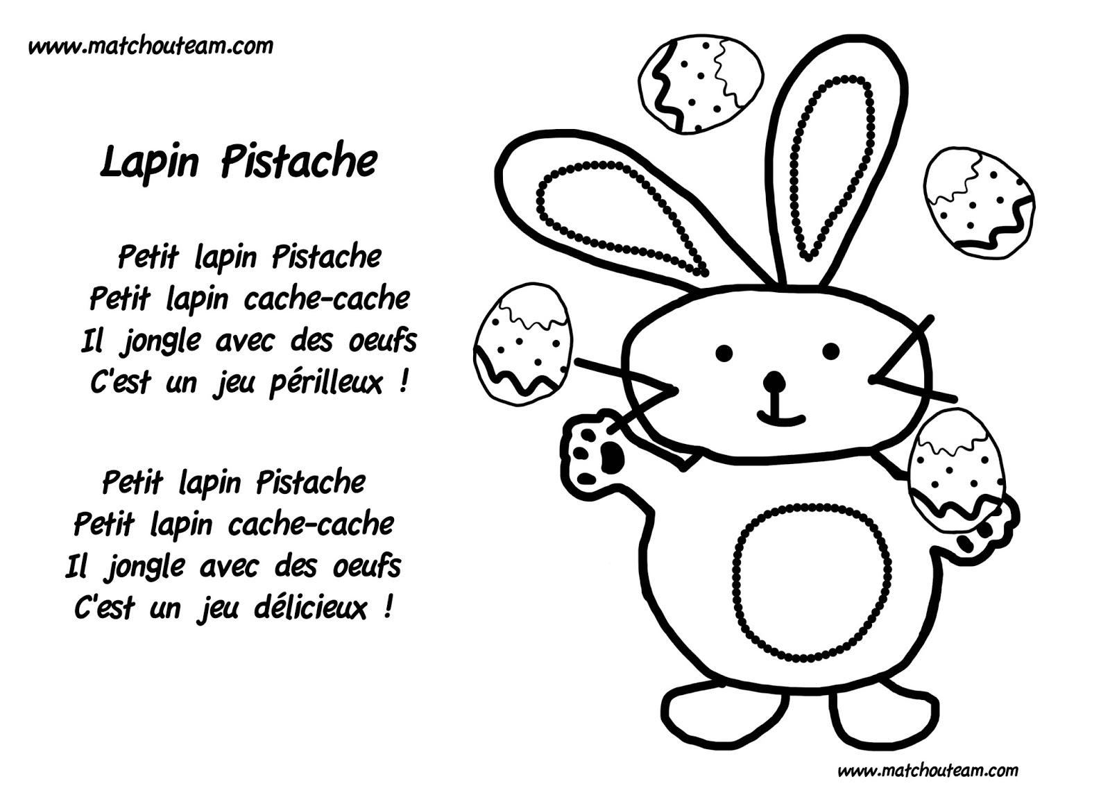 comptine pâques petit lapin Pistache