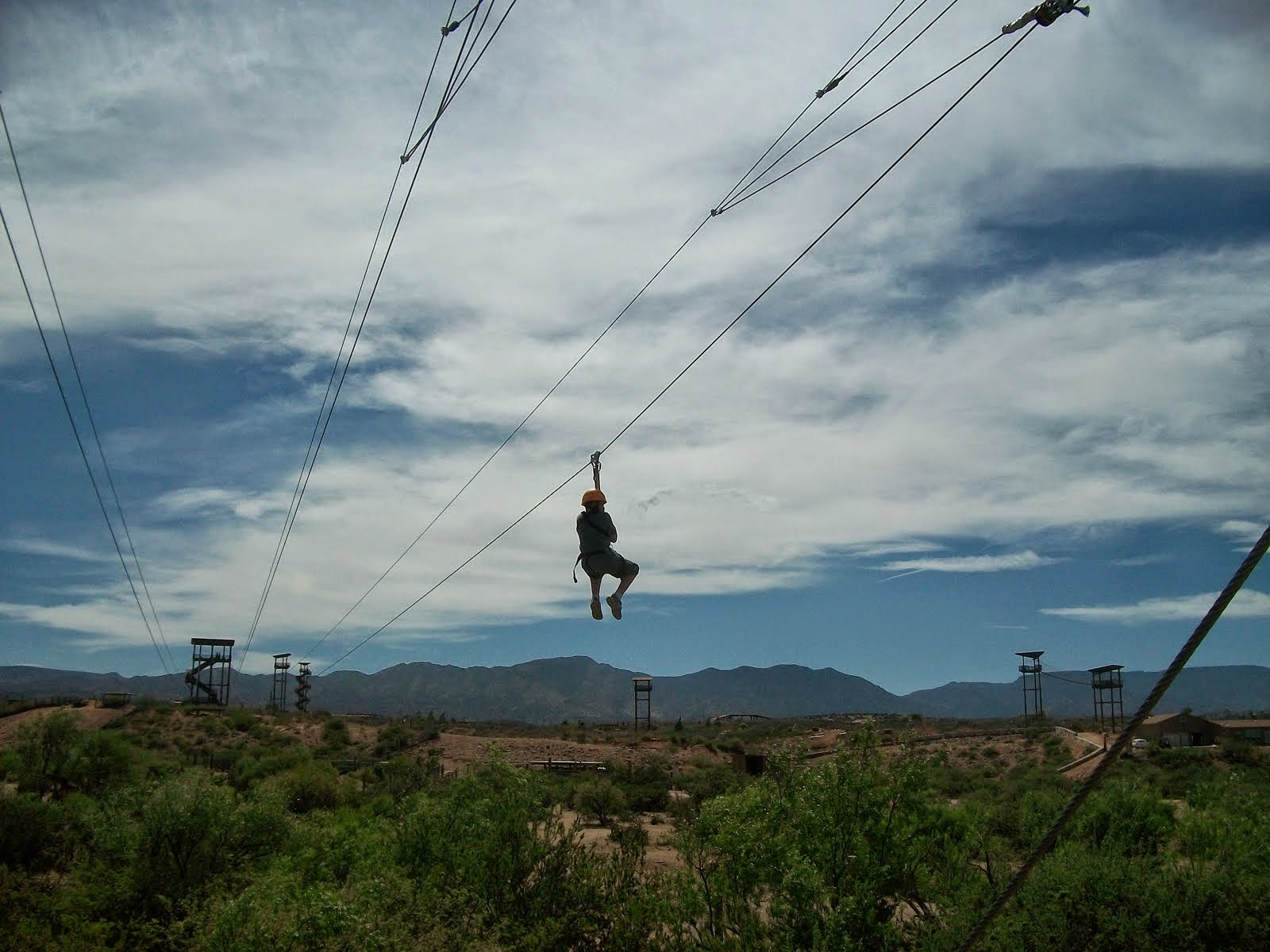 Jake coming down the zipline