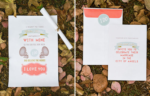 GotPrint wedding announcement and invitation placed on leaves on the ground