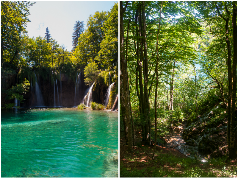 image of Plitvice Lakes National Park waterfall and walking tail
