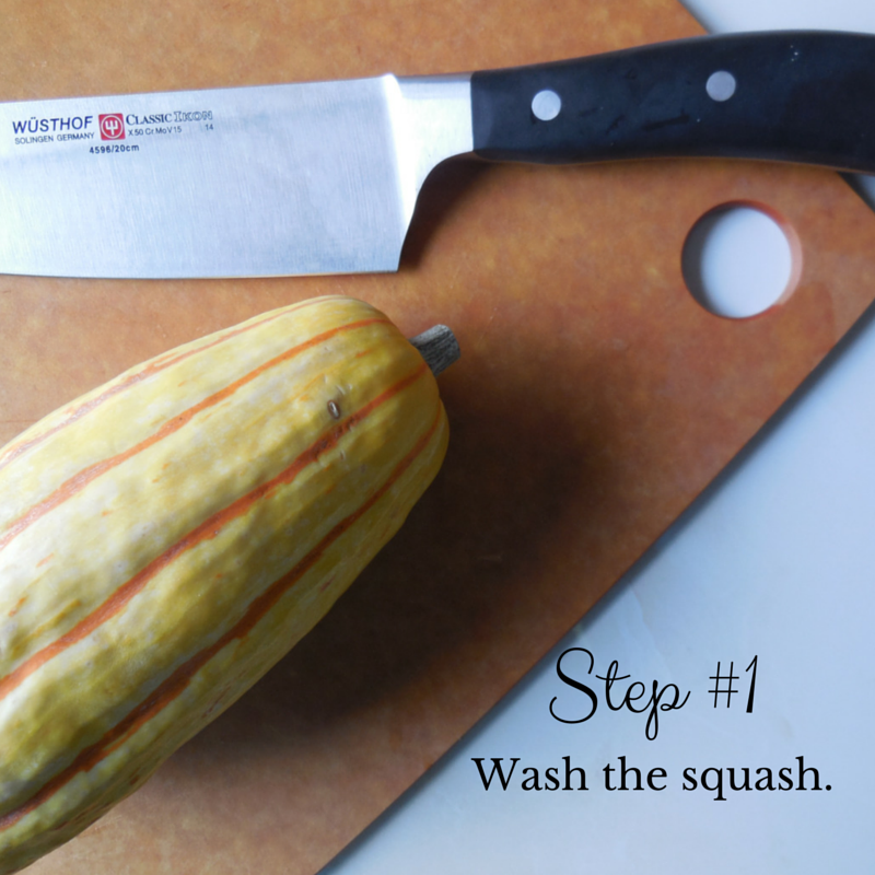 A simple step-by-step guide for making roasted delicata squash.