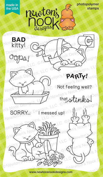 Naughty Newton - 4x6 Bad Kitty/Cat Stamp set by Newton's Nook Designs