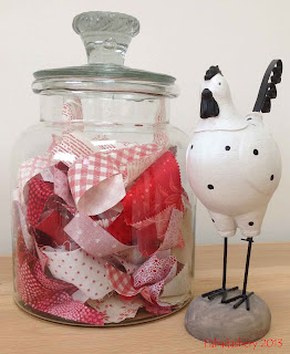 Sweet Jar Scrap Storage Red White Fabric