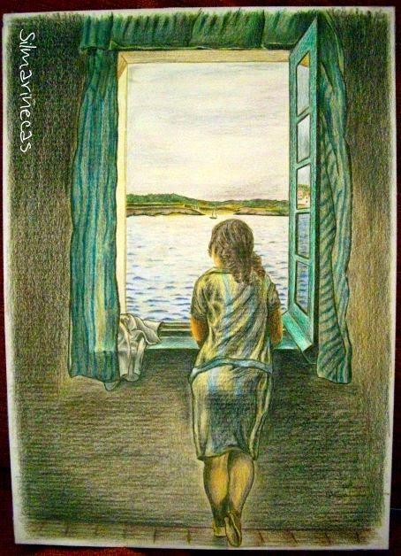 muchacha en la ventana, copia para concurso, Bar Verin