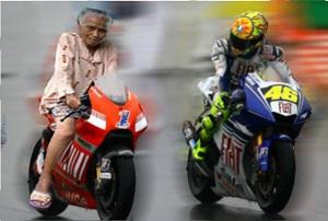 Foto nenek gaul sedang balap motor