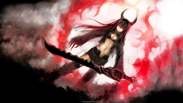 black gold saw sword red eye anime girl hd wallpaper