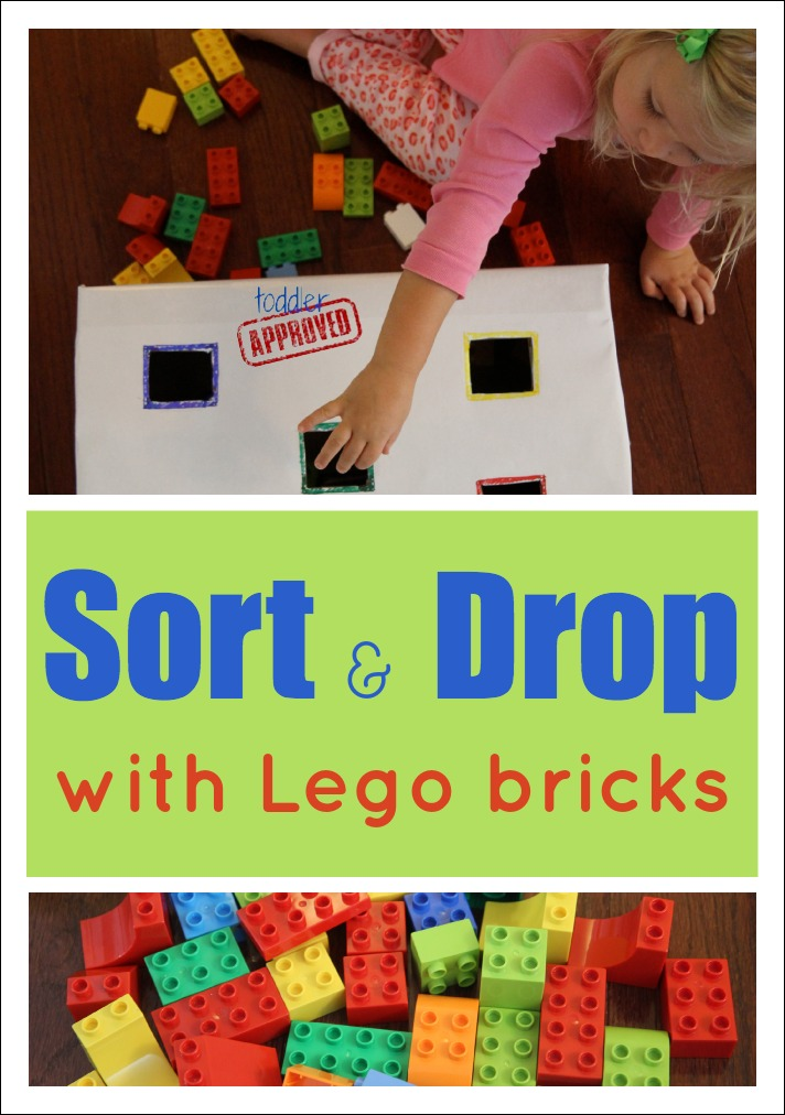 sort and drop color activity with lego bricks - Colour Activities For Toddlers