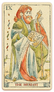 The Hermit card - Colored illustration - In the spirit of the Marseille tarot - major arcana - design and illustration by Cesare Asaro - Curio & Co. (Curio and Co. OG - www.curioandco.com)