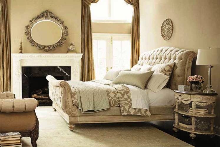 Traditional white bedroom furniture with fireplace antique mirror and table lamp black hardwood for White laminate bedroom furniture