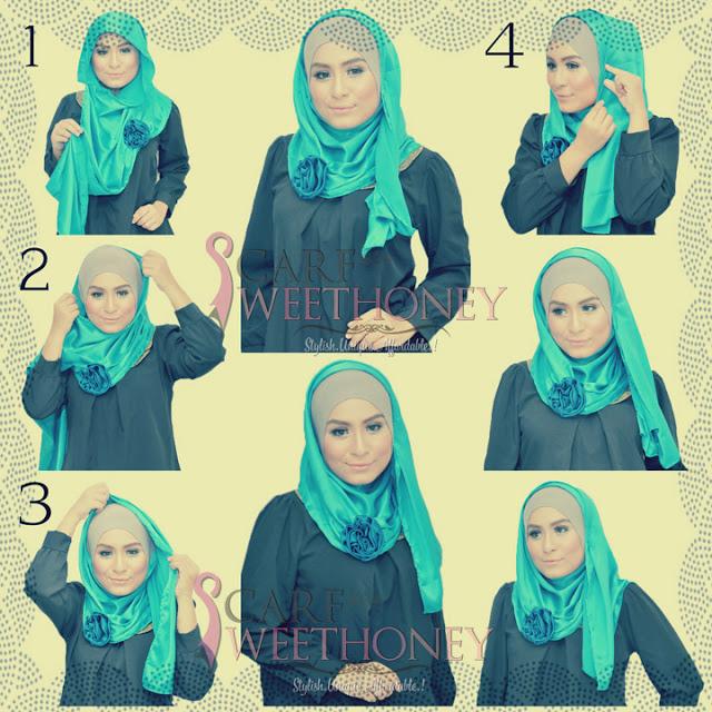 cara memakai hijab modis 3