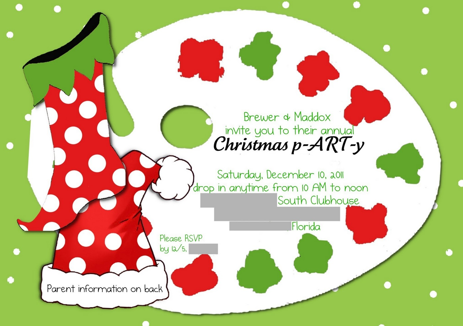 we invite our friends 8 years of age and under and their parents to come celebrate christmas with us this year it was an art themed party
