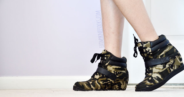 AMIClubwear sells tons of cheap, affordable, stylish shoes, like these $7 camouflage-print canvas sneaker wedges.