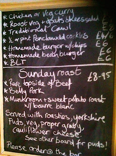 The simple blackboard menu at The Lansdowne Cardiff
