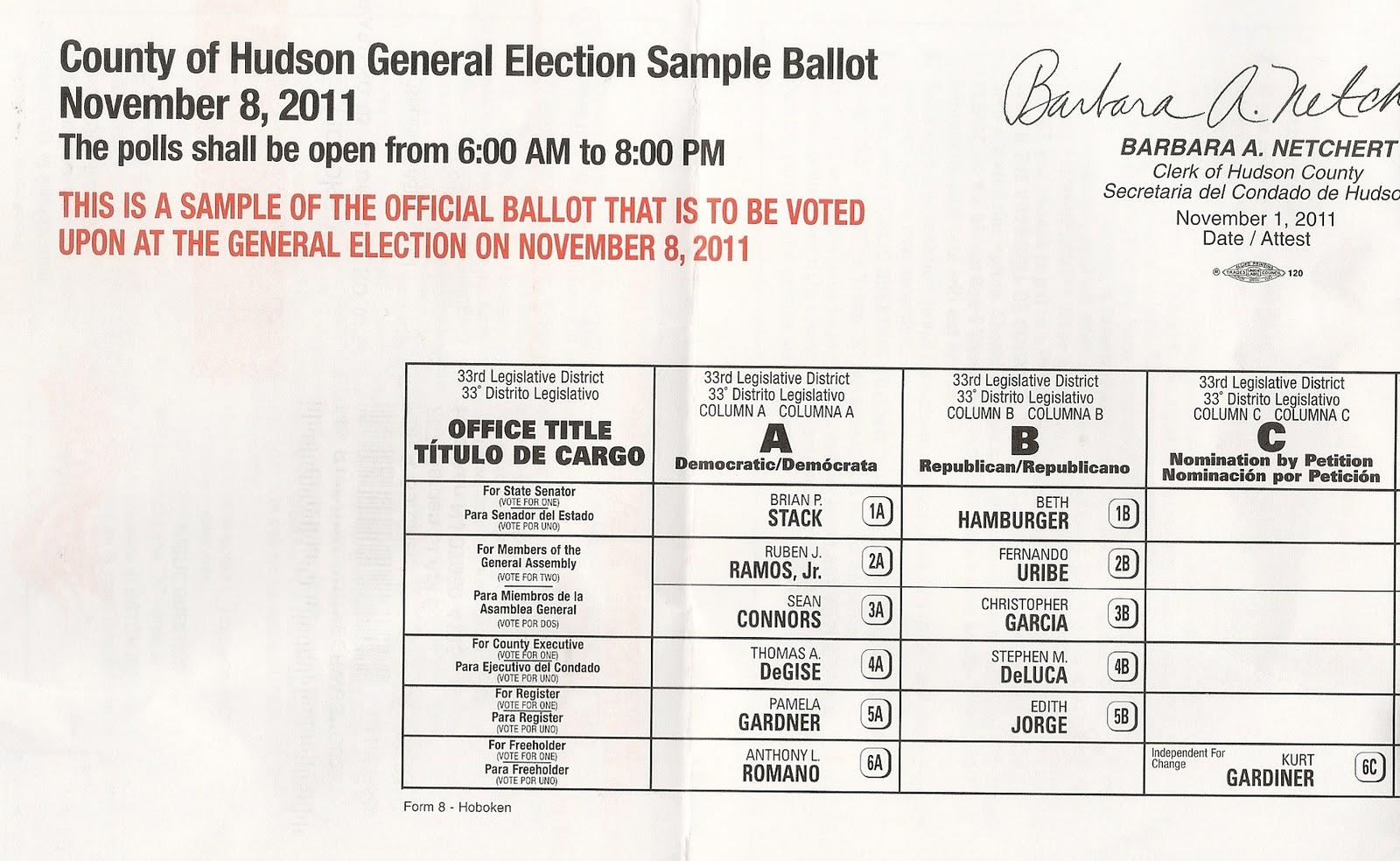 The Hoboken Journal: Sample Ballots November 8th Election