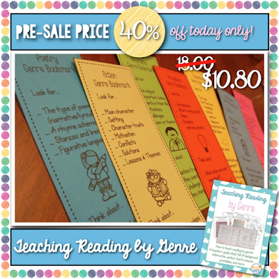 My brand-new Teaching Reading by Genre is marked down 40% for a pre-sale price, today only! Grab all 200 pages of tips, tools, printables, and lesson ideas for teaching reading by genre: fiction, expository, poetry, drama, procedural, literary nonfiction, and persuasive for only 10.80! http://bit.ly/1LPMVjb
