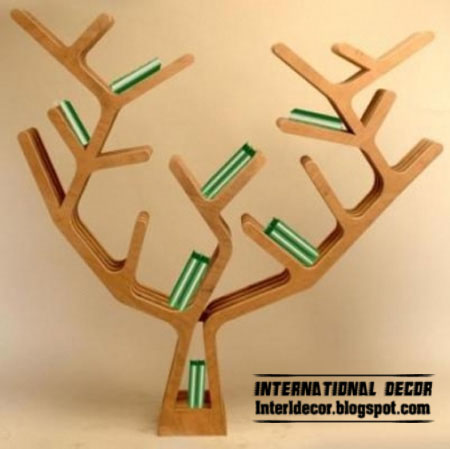 Modern wall shelves in tree branches style, tree shelves