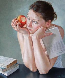 La femme mange une pomme - Art