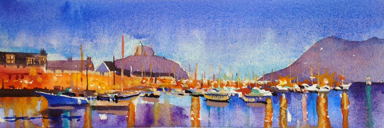 Ilfracombe harbour Devon watercolour painting by Woolacombe artist Steve PP.