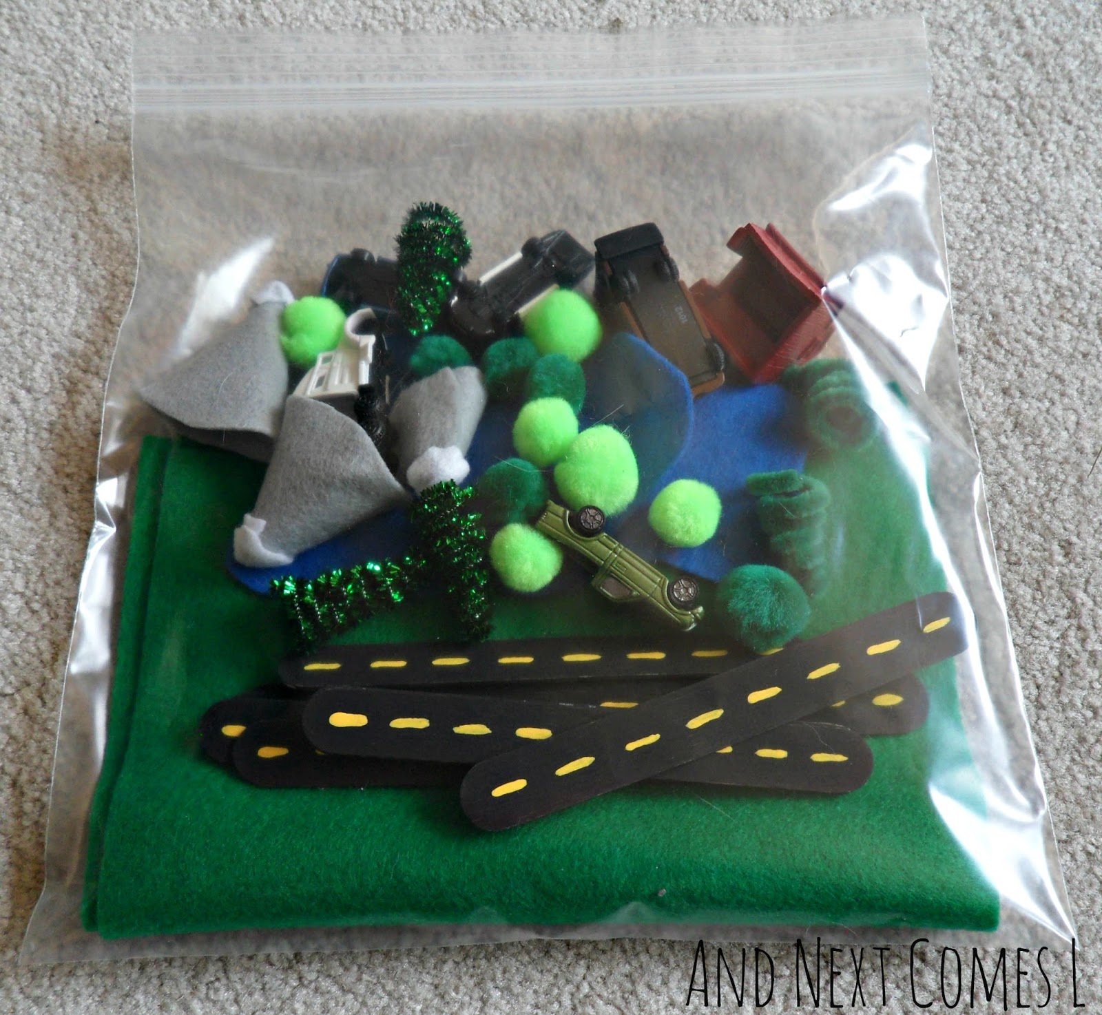 No sew car themed busy bag idea for kids from And Next Comes L