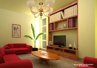 Sala de estar elaborada con iluminación exterior