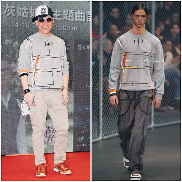 William So Wing Hong wears GIVENCHY BY RICCARDO TISCI FALL WINTER 2014 BASKETBALL COURT PRINT COTTON SWEATSHIRT Hong Kong October 2014