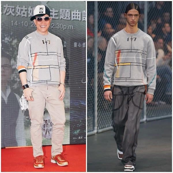 William So Wing Hong wears GIVENCHY BY RICCARDO TISCI FALL WINTER 2014 BASKETBALL COURT PRINT COTTON SWEATSHIRT Hong Kong October 2014