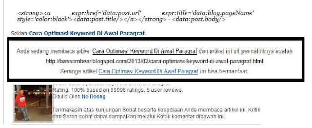 contoh letak permalink pada blog, cara membuat permalink