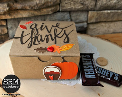 SRM Stickers Blog - Give Thanks Gift Box - #giftbox #kraftbox #quickcard #thanksgiving #DIY